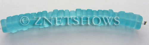 Cultured Sea Glass square spacer Beads  <b>9x8mm</b> 28-Turquoise Bay (25-pc-str)   per  <b>5-str-hank</b>