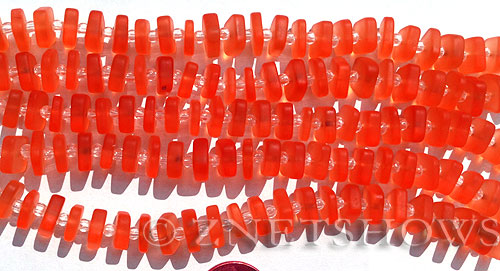 Cultured Sea Glass square spacer Beads  <b>9x8mm</b> 83-Tangerine    per 37-pc-str