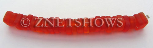 Cultured Sea Glass square spacer Beads  <b>9x8mm</b> 83-Tangerine (25-pc-str)   per  <b>5-str-hank</b>
