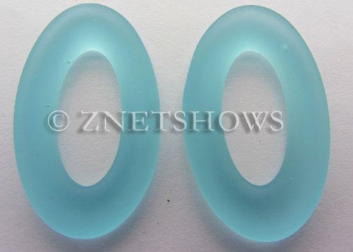 Cultured Sea Glass oval ring Pendants  <b>31x20mm</b> 28-Turquoise Bay    per  <b>10-pc-bag</b>