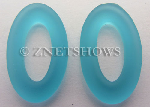 Cultured Sea Glass oval ring Pendants  <b>31x20mm</b> 30-Pacific Blue    per  <b>10-pc-bag</b>