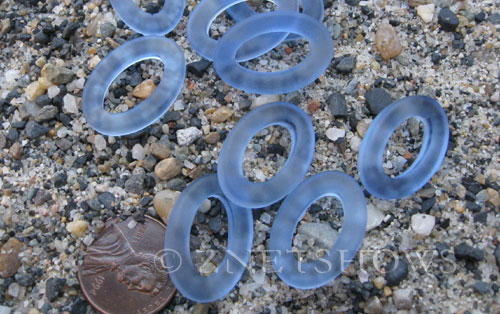 Cultured Sea Glass oval ring Pendants  <b>22x16mm</b> 31-Light Sapphire (New and smaller size)   per  <b>10-pc-bag</b>