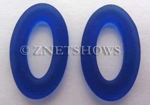 Cultured Sea Glass oval ring Pendants  <b>31x20mm</b> 33-Royal Blue    per  <b>10-pc-bag</b>