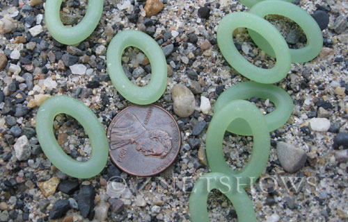 Cultured Sea Glass oval ring Pendants  <b>22x16mm</b> 43-Opaque Seafoam Green (New and smaller size)   per  <b>10-pc-bag</b>