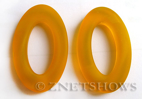 Cultured Sea Glass oval ring Pendants  <b>31x20mm</b> 57-Saffron Yellow    per  <b>10-pc-bag</b>