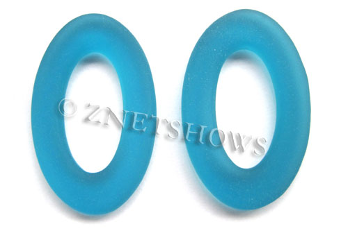 Cultured Sea Glass oval ring Pendants  <b>31x20mm</b> 82-Teal    per  <b>10-pc-bag</b>
