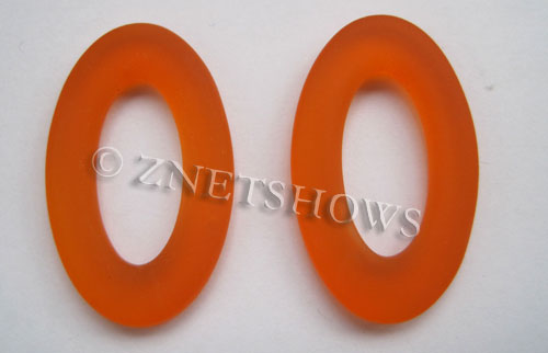 Cultured Sea Glass oval ring Pendants  <b>31x20mm</b> 83-Tangerine    per  <b>10-pc-bag</b>