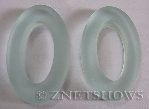 Cultured Sea Glass oval ring Pendants  <b>31x20mm</b> 88-Light Aqua `Coke` bottle Seafoam    per  <b>10-pc-bag</b>