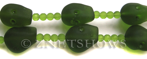 Cultured Sea Glass skull Beads  <b>20x17mm</b> 22-Olive   per  <b>5-pc-str</b>