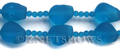 Cultured Sea Glass skull Beads  <b>20x17mm</b> 30-Pacific Blue    per  <b>5-pc-str</b>