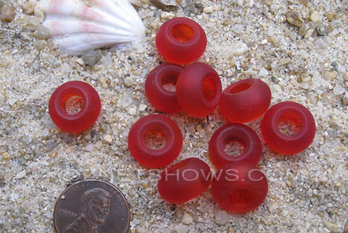 Cultured Sea Glass rondelle Beads  <b>14x10mm</b> 05-Cherry Red large hole   per  <b>10-pc-bag</b>
