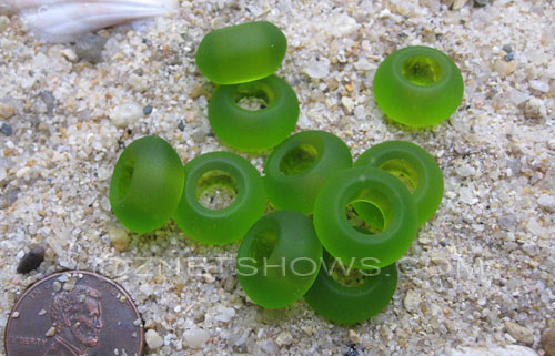 Cultured Sea Glass rondelle Beads  <b>14x10mm</b> 22-Olive large hole   per  <b>10-pc-bag</b>