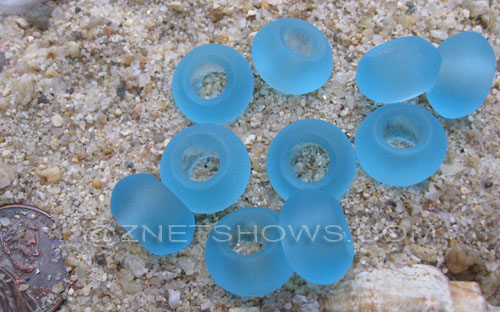 Cultured Sea Glass rondelle Beads  <b>14x10mm</b> 28-Turquoise Bay large hole   per  <b>10-pc-bag</b>