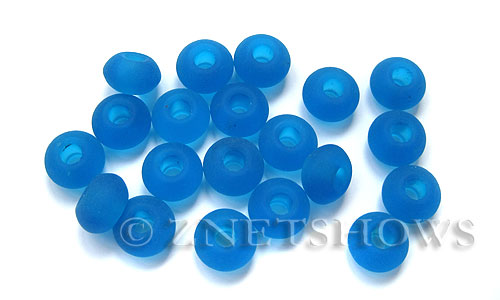 Cultured Sea Glass rondelle Beads  <b>14x10mm</b>  30-Pacific Blue large hole  per  <b>10-pc-bag</b>