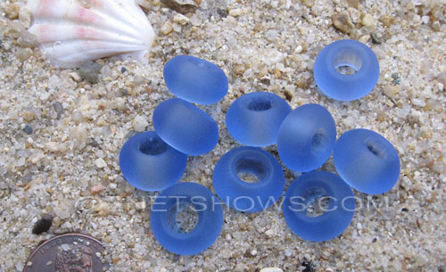 Cultured Sea Glass rondelle Beads  <b>14x10mm</b> 31-Light Sapphire large hole   per  <b>10-pc-bag</b>