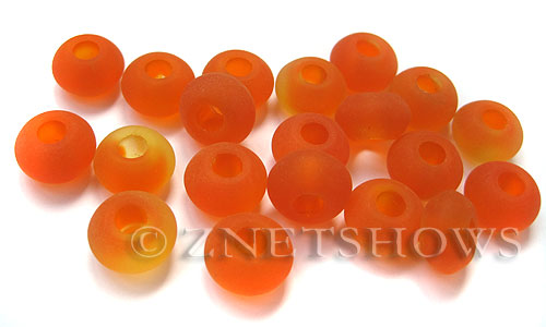 Cultured Sea Glass rondelle Beads  <b>14x10mm</b>  83-Tangerine large hole per  <b>10-pc-bag</b>