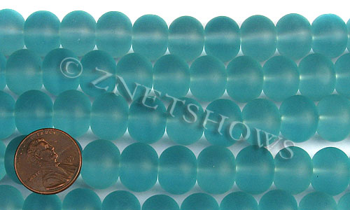 Cultured Sea Glass rondelle Beads  <b>14x10mm</b> 28-Turquoise Bay    per  <b>5-str-hank</b>