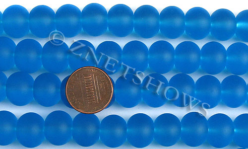 Cultured Sea Glass rondelle Beads  <b>14x10mm</b> 30-Pacific Blue    per  <b>5-str-hank</b>