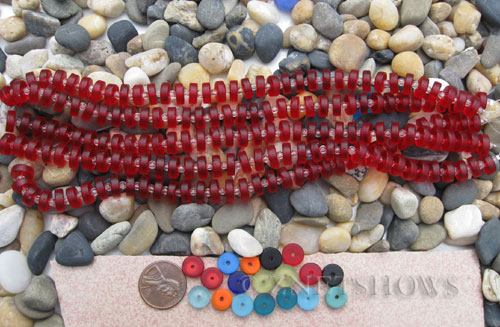 Cultured Sea Glass button heishi Beads  <b>9mm</b> 05-Cherry Red (8-in-str)(36-pc-str)   per  <b>5-str-hank</b>