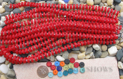 ruby red light color Cultured Sea Glass button heishi Beads  <b>9mm</b> (8-in-str)(36-pc-str)   per  <b>5-str-hank</b>