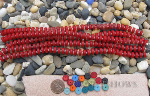 ruby red dark color Cultured Sea Glass button heishi Beads  <b>9mm</b> (8-in-str)(36-pc-str)   per  <b>5-str-hank</b>
