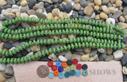 spring green color Cultured Sea Glass button heishi Beads  <b>9mm</b> (8-in-str)(36-pc-str)   per  <b>5-str-hank</b>