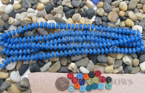 opaque sky blue Cultured Sea Glass button heishi Beads  <b>9mm</b> (8-in-str)(36-pc-str)   per  <b>5-str-hank</b>