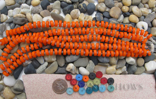 opaque orange color Cultured Sea Glass button heishi Beads  <b>9mm</b> (8-in-str)(36-pc-str)   per  <b>5-str-hank</b>