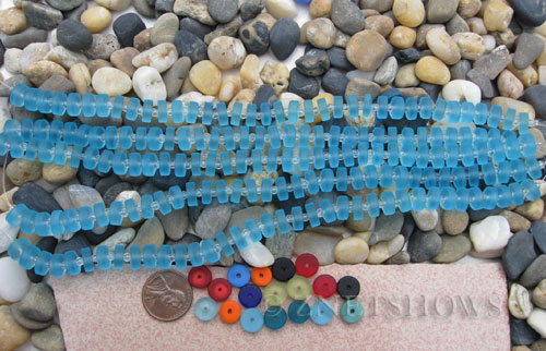 Cultured Sea Glass button heishi Beads  <b>9mm</b> 28-Turquoise Bay (8-in-str)(36-pc-str)   per  <b>5-str-hank</b>