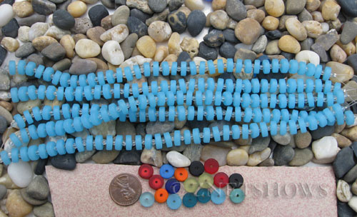 Cultured Sea Glass button heishi Beads  <b>9mm</b> 46-Opaque Blue Opal (8-in-str)(36-pc-str)   per  <b>5-str-hank</b>