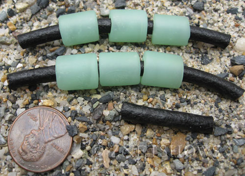 Cultured Sea Glass tube Beads  <b>12x10mm</b> 43-Opaque Seafoam Green large hole (Hand-made, shape and color may vary slightly)   per  <b>6-pc-bag</b>