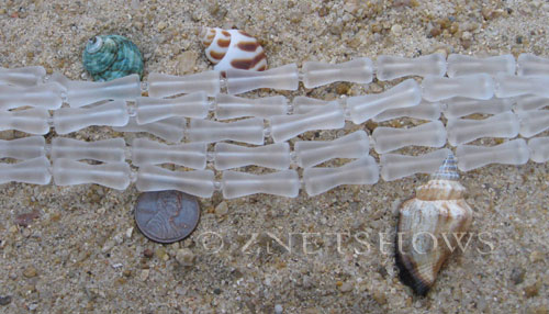 Cultured Sea Glass hour glass Beads  <b>22x9mm</b> 01-Crystal (9-pc-str)   per  <b>5-str-hank</b>