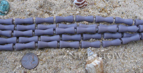 opaque purple color Cultured Sea Glass hour glass Beads  <b>22x9mm</b> (9-pc-str)   per  <b>5-str-hank</b>