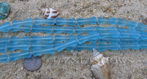Cultured Sea Glass hour glass Beads  <b>22x9mm</b> 28-Turquoise Bay (9-pc-str)   per  <b>5-str-hank</b>