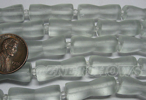Cultured Sea Glass hour glass Beads <b>About 22x9mm </b> 88-Light Aqua `Coke` bottle Seafoam  (9-pc-str)  per <b>5-str-hank </b>
