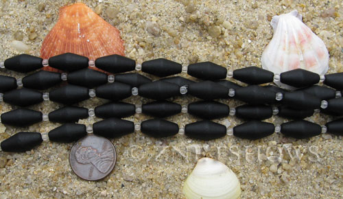 Cultured Sea Glass barrel Beads  <b>17x8mm</b> 02-Jet Black (11-pc-str)(about 8-in-str)   per  <b>5-str-hank</b>