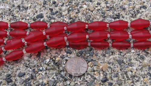 Cultured Sea Glass barrel Beads  <b>17x8mm</b> 05-Cherry Red (11-pc-str)   per  <b>5-str-hank</b>