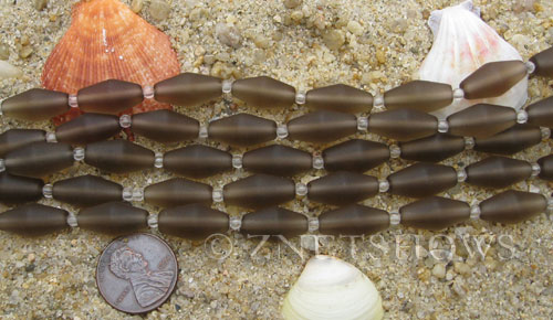 Cultured Sea Glass barrel Beads  <b>17x8mm</b> 15-Smoky Quartz  (11-pc-str)(about 8-in-str)   per  <b>5-str-hank</b>
