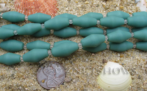 baby blue color Cultured Sea Glass barrel Beads  <b>17x8mm</b> (11-pc-str)(about 8-in-str)   per  <b>5-str-hank</b>
