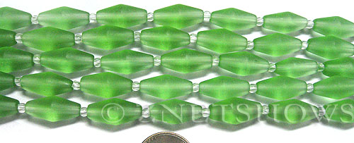 Cultured Sea Glass barrel Beads  <b>17x8mm</b> 23-Peridot (11-pc-str)(about 8-in-str)   per  <b>5-str-hank</b>