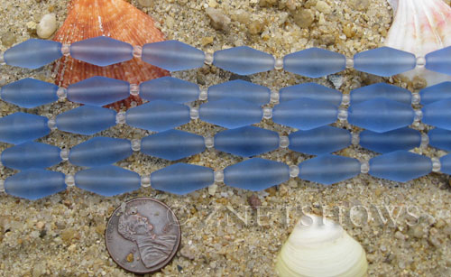Cultured Sea Glass barrel Beads  <b>17x8mm</b> 31-Light Sapphire (11-pc-str)(about 8-in-str)   per  <b>5-str-hank</b>