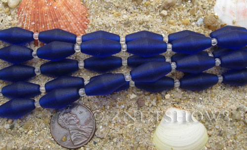 Cultured Sea Glass barrel Beads  <b>17x8mm</b> 33-Royal Blue (11-pc-str)(about 8-in-str)   per  <b>5-str-hank</b>