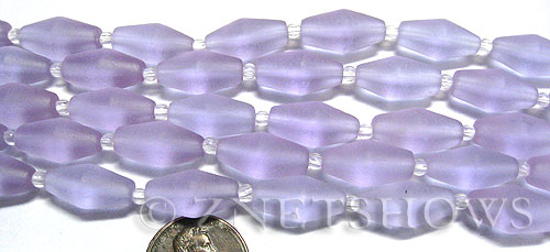 Cultured Sea Glass barrel Beads  <b>17x8mm</b> 39-Periwinkle Changes (11-pc-str)(about 8-in-str)   per  <b>5-str-hank</b>