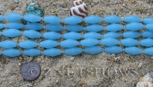 Cultured Sea Glass barrel Beads  <b>17x8mm</b>  46-Opaque Blue Opal (11-pc-str)(about 8-in-str)   per  <b>5-str-hank</b>
