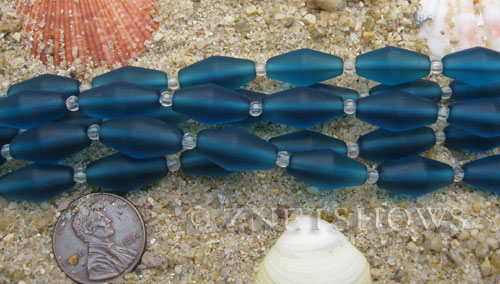 Cultured Sea Glass barrel Beads  <b>17x8mm</b> 82-Teal (11-pc-str)(about 8-in-str)   per  <b>5-str-hank</b>
