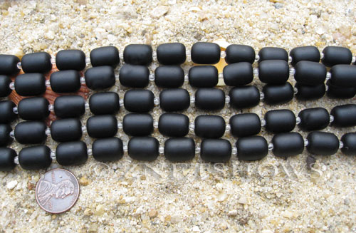 Cultured Sea Glass barrel nugget Beads  <b>13x10mm</b> 02-Jet Black (13-pc-str)   per  <b>5-str-hank</b>