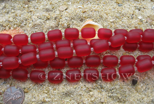 Cultured Sea Glass barrel nugget Beads  <b>13x10mm</b> 05-Cherry Red (13-pc-str)   per  <b>5-str-hank</b>
