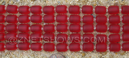Cultured Sea Glass barrel nugget Beads  <b>10x8mm</b> 05-Cherry Red (17-pc-str)   per  <b>5-str-hank</b>
