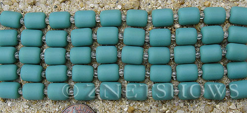 baby blue color Cultured Sea Glass barrel nugget Beads  <b>10x8mm</b> (17-pc-str)   per  <b>5-str-hank</b>
