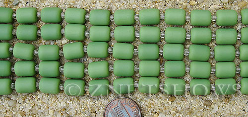 spring green color Cultured Sea Glass barrel nugget Beads  <b>10x8mm</b> (17-pc-str)   per  <b>5-str-hank</b>